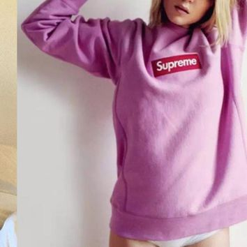 Supreme autumn and winter new wave of licensing head jacket men and women plus velvet cotton embroidery sweater couple sweater