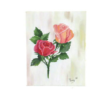 Vintage Roses Painting, Wall Hanging, Cottage Chic, Rose Art, Shabby Home Decor, Pink Flowers, Still Life Canvas, Floral Garden, 8x10