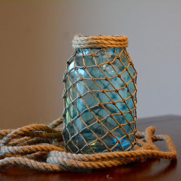 Nautical Decor, Quart Mason Jar, Nautical Mason Jar, Beach Decor, Cottage Decor, Beach Mason Jar, Fish Net, Fish Net Mason Jar, Fish Netting
