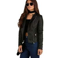 Black Quilted Zipper Motto Jacket