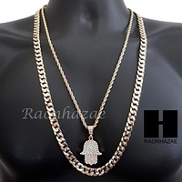 """MEN ICED OUT BLING GOLD HAMSA PENDANT 30"""" CUBAN LINK CHAIN NECKLACE SET S95G"""