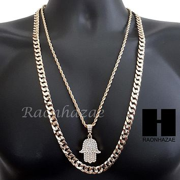 "MEN BLING GOLD HAMSA PENDANT 30"" CUBAN LINK CHAIN NECKLACE SET S95G"