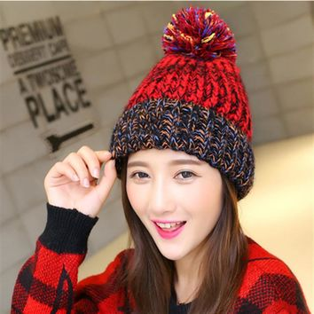 Cute Ball Top Winter Hat For Women Girl 's Hat  Casual Gorros Bonnet Knitted Cap Beanies Cap Female Thick Cap Brand New Fashion