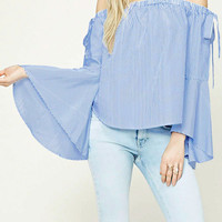 Blue Off Shoulder Bow Detail Flared Sleeves Blouse