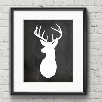 White Deer With Antlers Silhouette On Rustic Black Chalkboard Background - Art Print Gift Item Home Decor