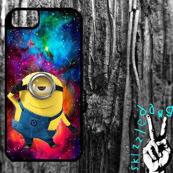 Despicable Me Minion and Colorful Galaxy Space Apple iPhone 4/4S and 5 Durable Protective Cell Phone Case Original Trendy Design