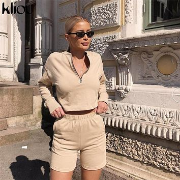 Kliou 2018 autumn full sleeve solid color zipper o-neck crop top shorts women two pieces sets fitness sporting workout tanksuits