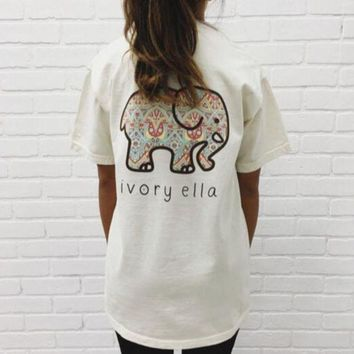 Ivory Ella Summer Autumn Lovely Elephant Print Loose Round Collar Short Sleeve T-Shirt Pullover Top