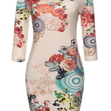 Streetstyle  Casual Round Neck Floral Printed Delightful Bodycon Dress