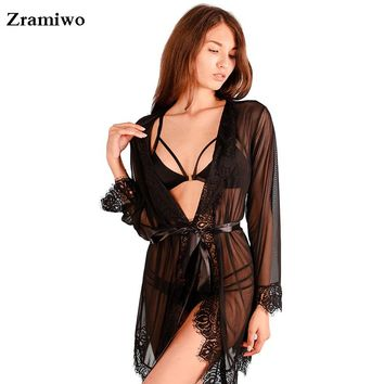 Women's Sheer Lace Trimmed Robe See Through Kimono Eyelash Nightgown Sexy Lingerie