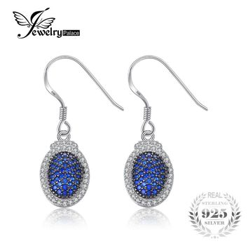 JewelryPalace Vintage 0.42ct Created Blue Spinel Pave Dangle Earrings Charms 925 Sterling Silver Fine Earrings Jewelry For Women