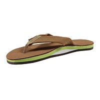 Women's Single Layer Premier Leather Sandal in Sierra Brown with Lime Arch by Rainbow Sandals