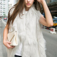 Grey Asymmetrical-hem Fur Vest