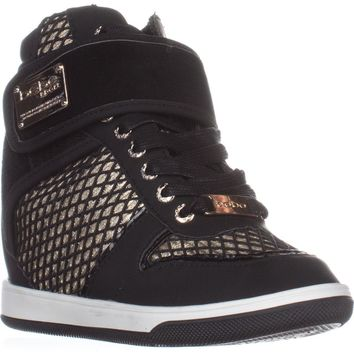 bebe Calisto Wedge Fashion Sneakers, black/Gold, 9.5 US
