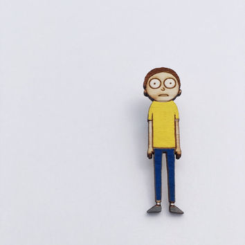Tiny Morty Wood Pin, Rick and Morty Wooden Brooch