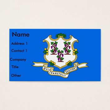 Business Card with Flag of Connecticut U.S.A.
