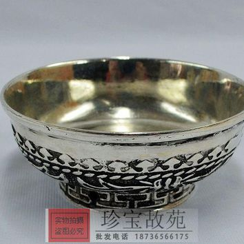 The silver collection carved Miao silver bowl Home Furnishing decoration wedding ornaments