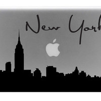 New York Skyline Macbook Decal With Writing / Macbook Sticker / Laptop Decal
