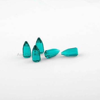 Beautiful Faceted Cabochon Bullet Shape Teal Quartz Loose Gemstone 8x16mm AAA Grade - 5pcs.