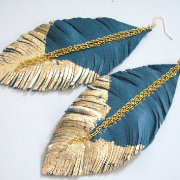 Feather Earrings - Leather Feather Jewelry, Leather Earrings, color turquoise blue