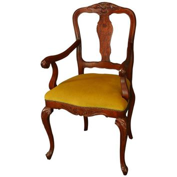 Pre-owned Italian Rococo Inlaid Arm Chair Reproduction