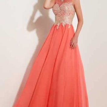 Studio 17 - 12623 Charismatic Embroidered Illusion Jewel Chiffon A-Line Gown
