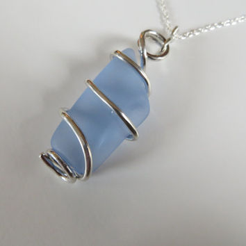 Glass Wire Wrapped Sterling Silver Necklace Choker