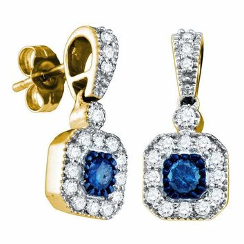 10kt Yellow Gold Women's Round Blue Color Enhanced Diamond Square Dangle Screwback Earrings 5-8 Cttw - FREE Shipping (US/CAN)