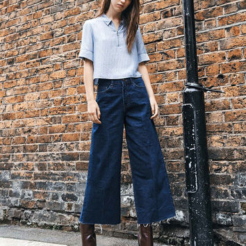 Wide Leg Ankle jeans - Denim Collection - Bershka Germany