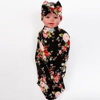 Infant swaddle set Newborn top bowknot hat Wild Flower photo prop Hospital set baby boy girl Topknot beanie Baby Blanket 1set