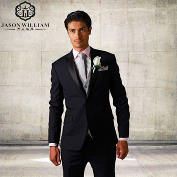 (Jacket+Pants+Tie+Vest) Custom Classic Mens Suits Notch Lapel Tuxedos Black Strips