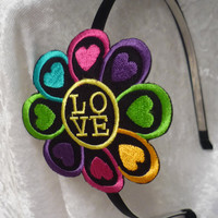 Flower Love Headband, heart headband, multicolored hearts, girls headband