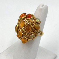 Vintage 18k Yellow  Gold Mexican Opal Cocktail ring Hand Made