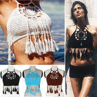 Women knit Cross Strappy halter Crochet Bandeau Bra Tops Bustier Tassel Vest Crop Top Bralette swimwear beachwear bathing suit