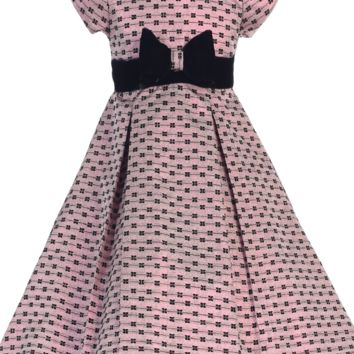 Pink Bow Design Jacquard Girls Pleated Holiday Dress w. Velvet Trim 6M-12