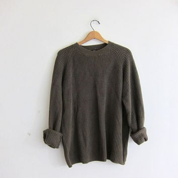 vintage army green sweater. oversized slouchy pullover sweater. men's cotton sweater size L