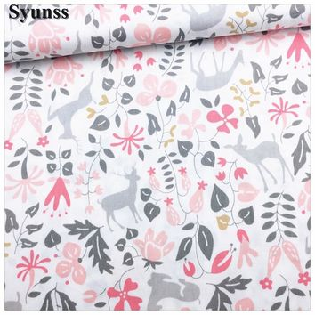 Syunss,Pink Deer Floral Printed Cotton Fabric DIY Tissu Patchwork Telas Sewing Baby Toy Bedding Quilting Cloth Craft Tecido