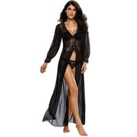 Sheer Long Sleeve Lace Robe With Thong LAVELIQ
