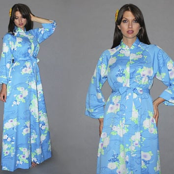 Vintage 70s CAFTAN / Sky Blue Maxi Dress / Kimono, Hawaiian, Kaftan Party / Floral Print Hostess Dress, Loungewear / Beach Bride Robe / M L