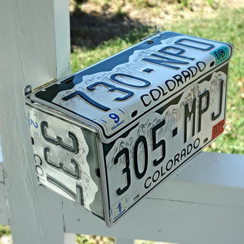 Upcycled Wall Mount Colorado License Plate Mailbox