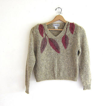 Vintage oatmeal knit sweater. v neck sweater. leaf knit women's sweater. boho chic