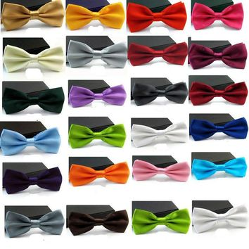 Free Shipping 2018New Fashion Adjustable Women Men's Black White Red Multi  Solid Color  Bow Tie Bowties For Wedding Party Gift
