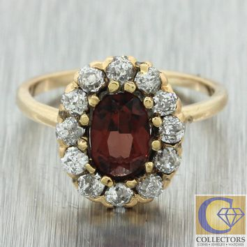 1880s Antique Victorian Estate 14k Yellow Gold Oval Garnet Diamond Cluster Ring