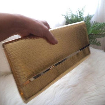 Large Vintage Gold Clutch ~ Shoulder Bag ~ Faux Crocodile ~ Long Clutch