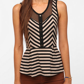 Pins and Needles Shiny Button Peplum Tank