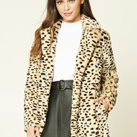 Faux Fur Cheetah Print Coat