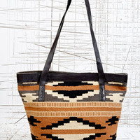 Leather Trim Woven Shoulder Bag at Urban Outfitters