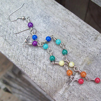 7 Color Therapy - Seven Chakra Colors - Beaded Linear Rainbow Earrings - Colorful Hippie - Light and Long Boho Earrings