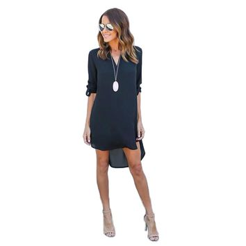 Women Dress Spring Summer Chiffon Long Sleeve Casual Dress