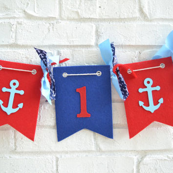 Boy birthday banner -  boy 1st birthday decor - anchor banner - nautical birthday - boy birthday banner - 1st birthday decor